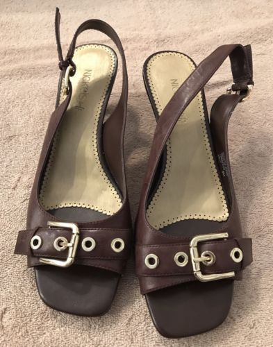 NICKELS-SOFT-Brown-Size-8M-Open-Toe-Buckle-Accent-Slingback-Shoe