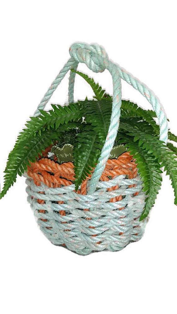 Handmade Rope Basket Recycled Rope Handwoven Basket Easter Gift Basket Woven Basket with Wishing Well Handle