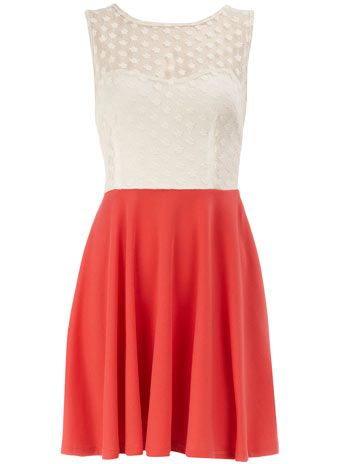 coral and white dress