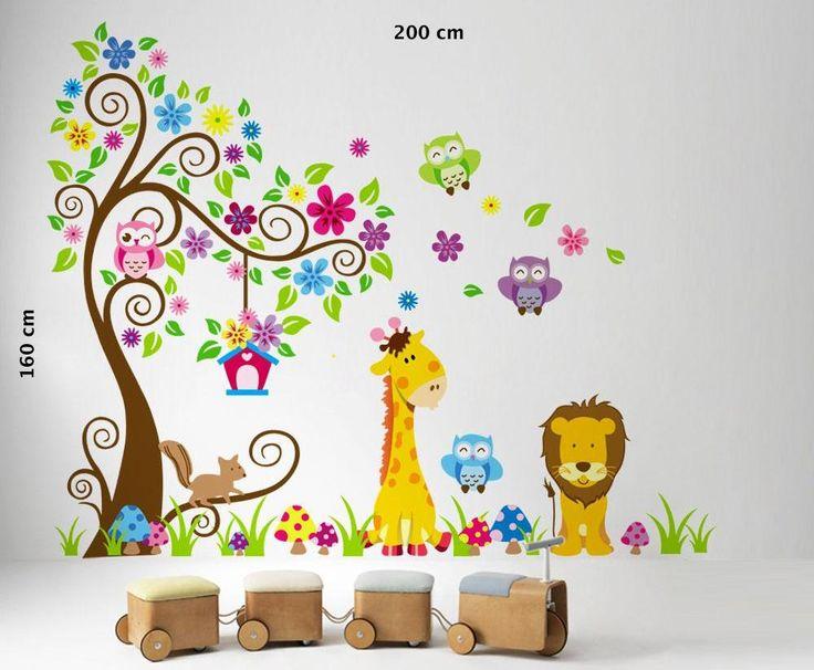 Sticker murale f.to 200×160 cm per camera bambini con albero leone giraffa e gufo | necozio.com