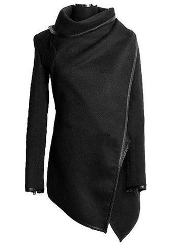 Black Wool  Asymmetric Coat