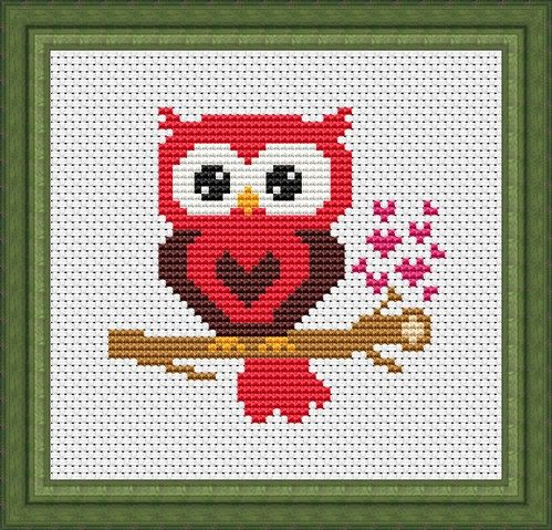 Red Heart Owl Counted Cross Stitch Pattern Download Tiny Easy Cross Stitch Chart Small Instant Download