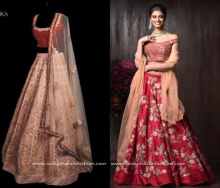 Beige and Red Lehenga Collections 2016