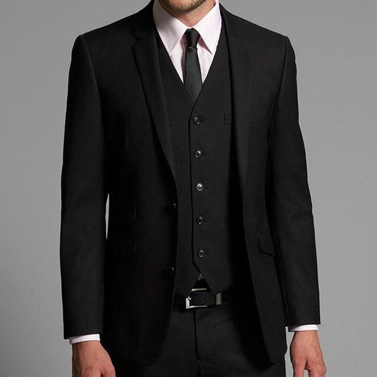 Generous Black Suit Mens Wedding Suits 2017 Notched Lapel Men Wedding Tuxedos Two Button Groom Suits (jacket+pants+vest+tie)
