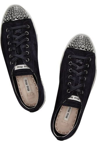 Jeweled-toe MiuMiu sneakers. Bling!