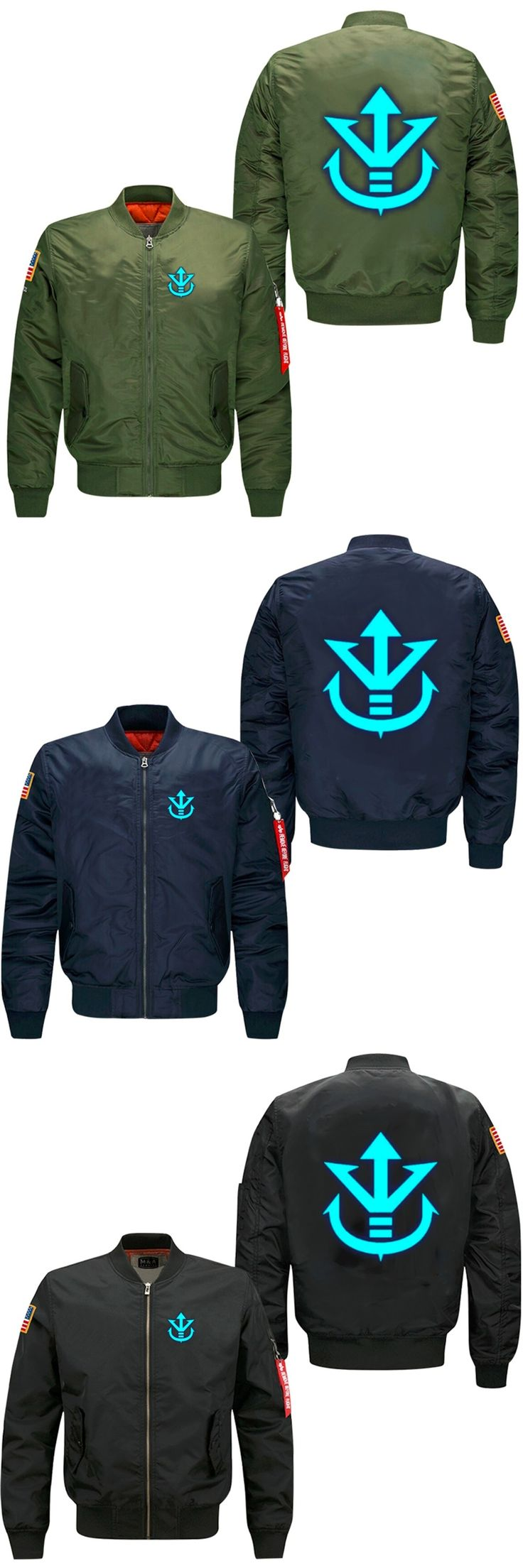 2017 Anime Dragon Ball Z Vegeta Saiyan Royal Crest Air Force pilots jacket spring autumn men's leisure jacket collar code