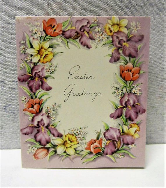 Easter Greeting Card Lovely Flowers 1950s Easter Card Purple