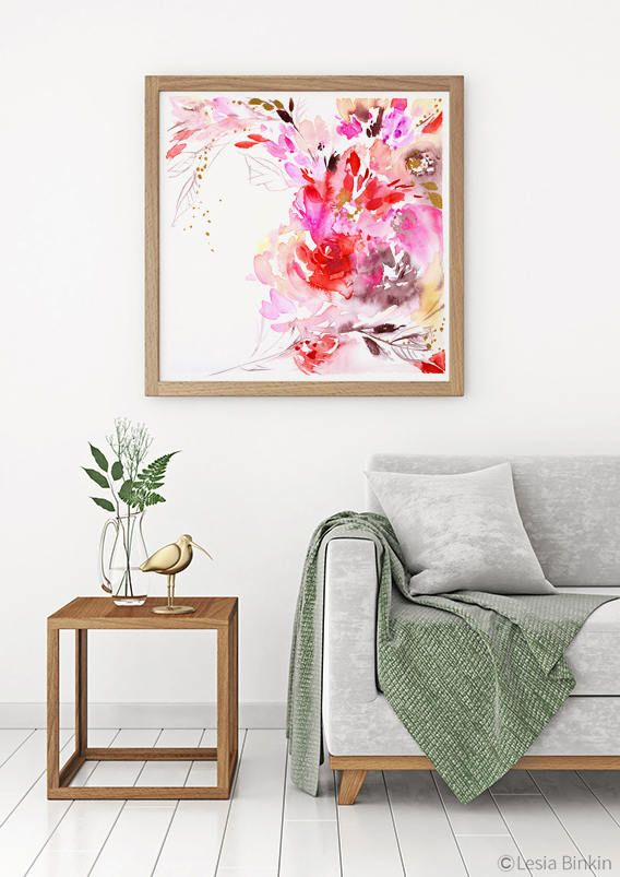 Bliss watercolor flower print abstract floral painting