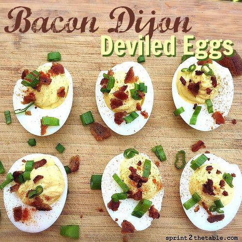 Bacon Dijon Deviled Eggs - creamiest filling you'll ever make!