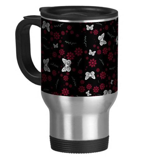 #TravelMug #Mug Flower Butterflies Travel Mug