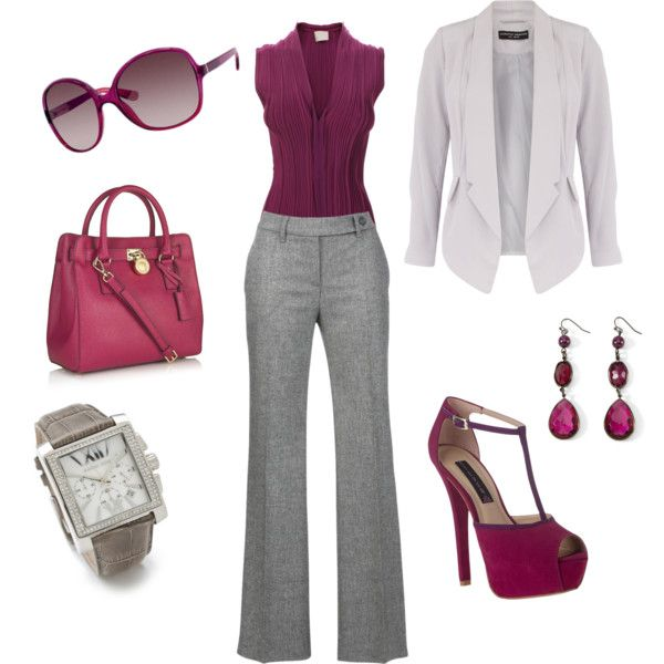 Gray slacks and plum top