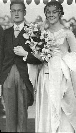 Diana Mitford with her first husband Hon Bryan  Guinness (later Lord Moyne) on their wedding day.  They had two sons.