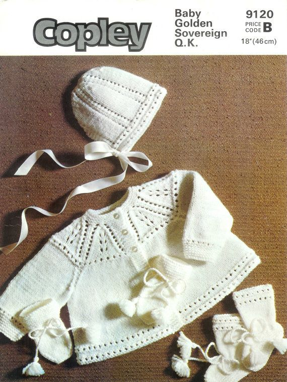 Vintage PDF BABY Knitting PAttern Copley 9120 - QK Matinee Jacket Hat Bootees & mittens 3ply = Super fine Sock. Baby or fingering  4ply = Fine sports weight yarn  DK/QK = Light D.K./Light Worsted/ 8ply  ARAN = Medium Worsted /10ply    To help you decide which size to knit, I found this information in a very old baby pattern book; it provides a guideline re: weight/age/chest measurement:  AGE CHEST/Pat. Size Weight  Premature 12/1...