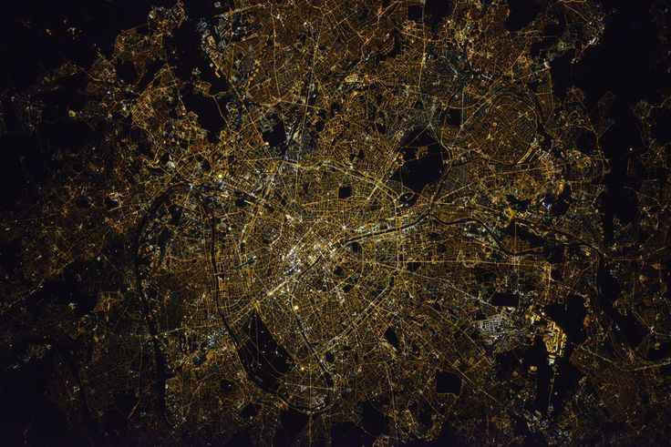 """#Paris at night. I might be biased, but it's the most beautiful thing I've seen yet (picture by friend & #Soyuz commander Oleg Novitsky)"""