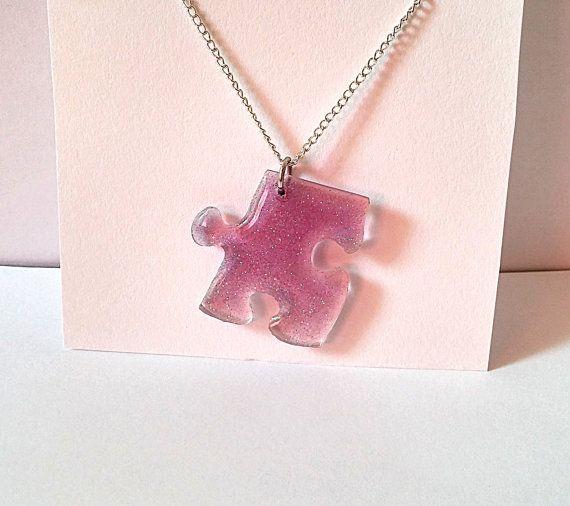 Resin Puzzle Pendant/Charm/Necklace  purple by LittleWoolShop, $8.50