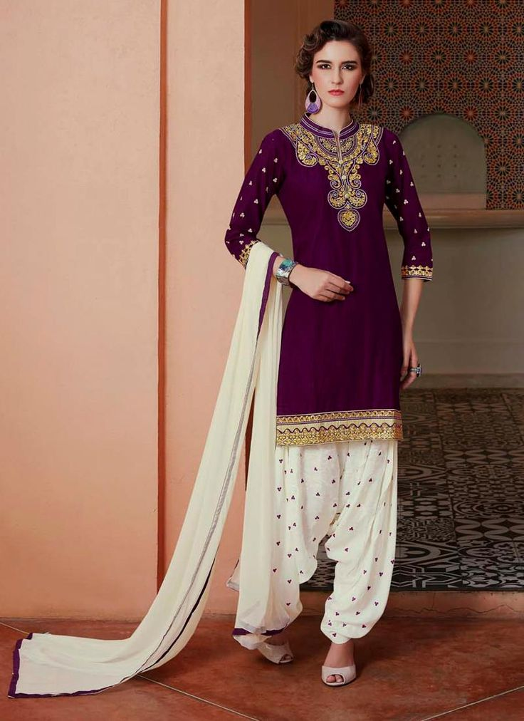 Shop online latest anarkali suit. Versatile purple cotton   designer patiala salwar kameez for party and festival. Signup and get customize your order.