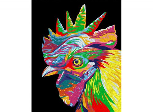 «Радужный петух» Картина по номерам, картина-раскраска по номерам, раскраска по номерам, paint by numbers, купить картину по номерам - Zvetnoe.ru - картины по номерам, алмазная мозаика