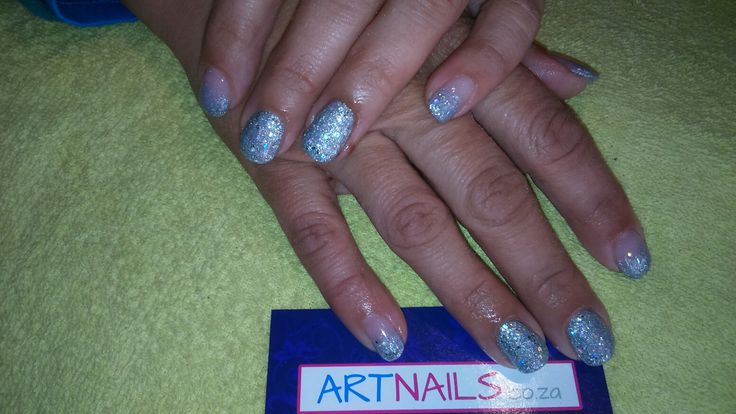 Silver and French silver ombre acrylic nails I did