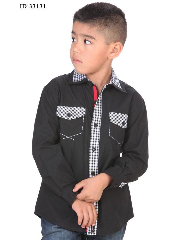 33131 Camisa Casual Niño El General, 65% Polyester 35%Cotton - Black