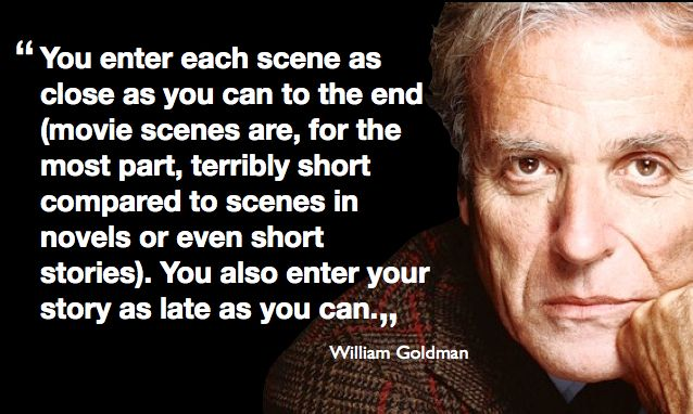 """William Goldman """"You enter each scene as close as you can to the end..."""" from Adventures in the Screentrade, publixhed 1983"""
