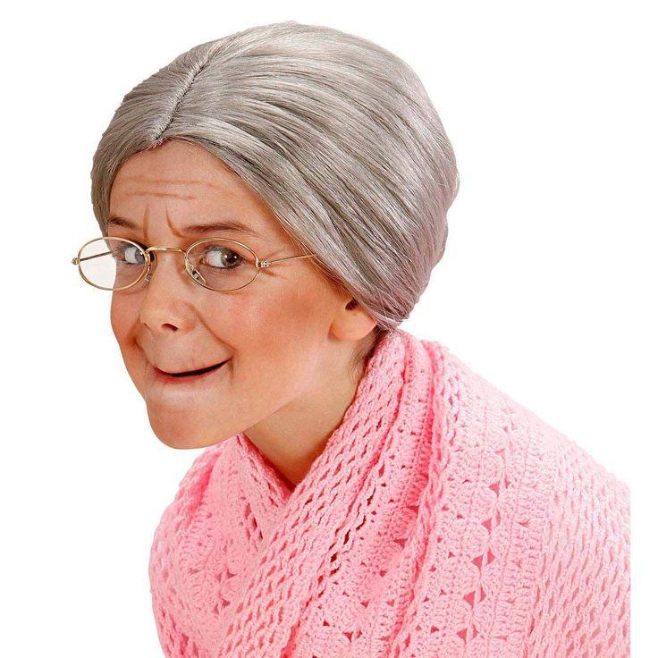 Oma Perücke mit Dutt Großmutter Haarperücke Kinder grau