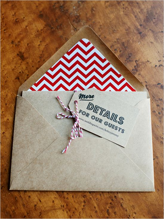 Gorgeous Kraft paired with red and white Chevron and bakers twine - perfect!