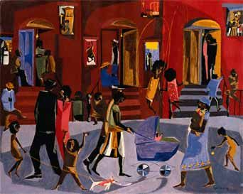 Jacob Lawrence: Exploring Stories  I love how vibrant this neighbourhood appears.  Happiness is here.