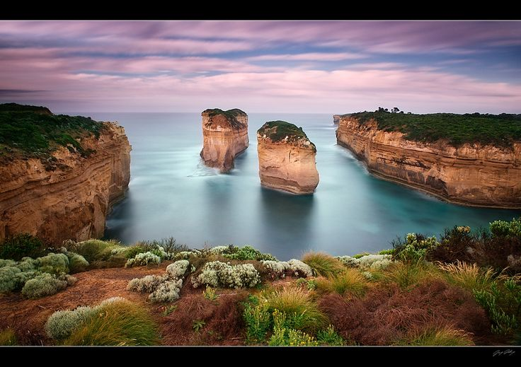 Loch Ard Gorge, Port Campbell National Park, Victoria, Australia. Here is a rugged piece of coastline. The story of the ship, the Loch Ard, shipwrecked just off this coast is retold in an amazing water and light show at Flagstaff Hill. I walked on this small beach.