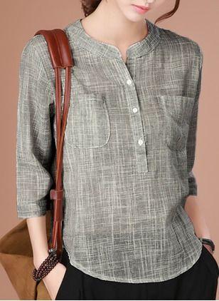 Reto Informal Algodão Em torno do pescoço Manga 1032899/1032899 Camisas (1032899) @ floryday.com