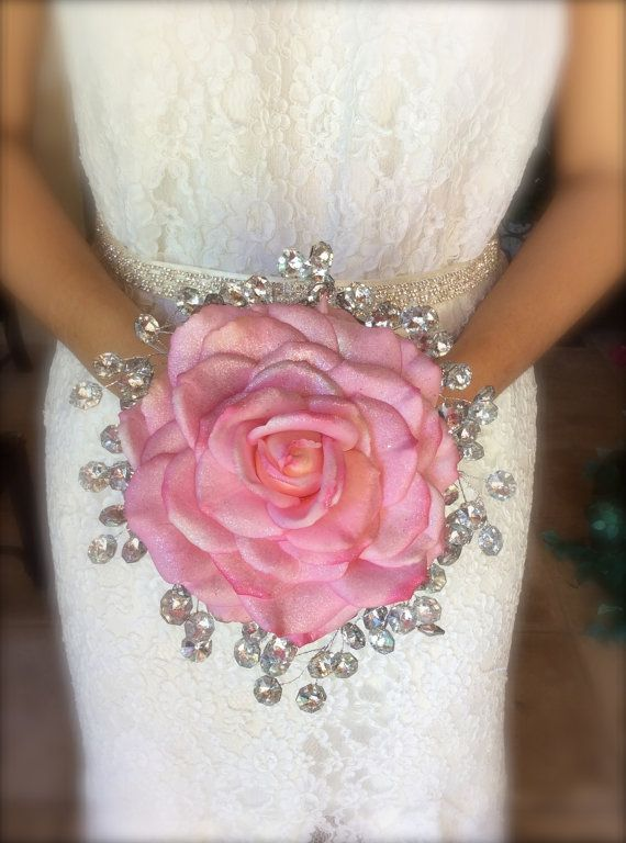 real touch rose composite wedding  bouquet alternative bouquet with bling brooch…