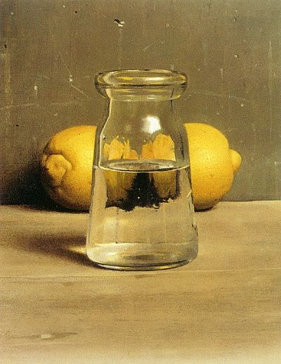 'A Flask of Water with Two Lemons' (1996) by Israeli figurative painter Israel Hershberg (b. 1948). Oil on muslin mounted on wood, 24 x 18 cm. via the International School of Painting