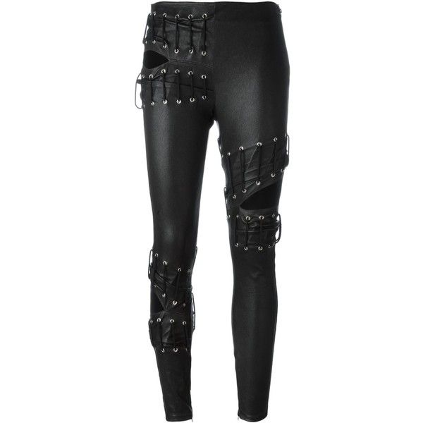 Saint Laurent slit lace-up trousers (19.770 DKK) ❤ liked on Polyvore featuring pants, bottoms, black, side zip skinny pants, skinny trousers, slit pants, skinny fit pants and skinny pants