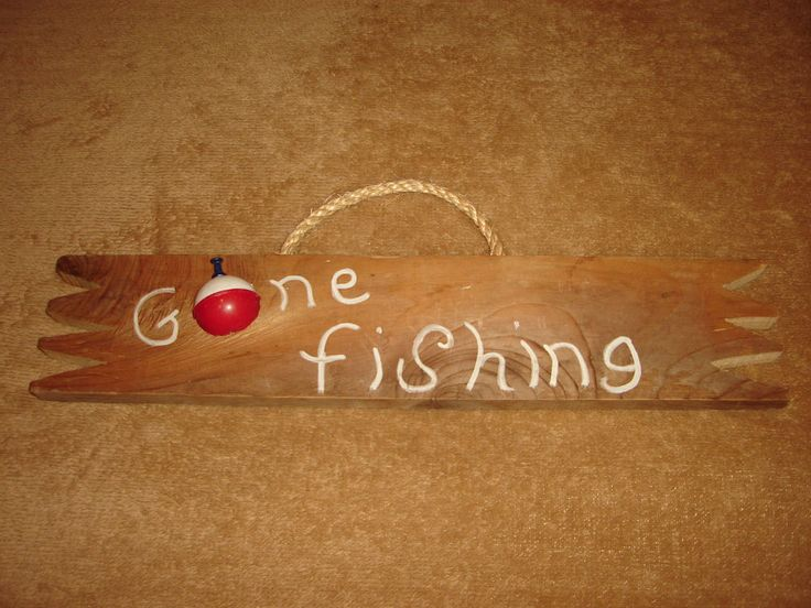 Large Gone Fishing Bobber Rustic Wood 3-D Wall Art Sign Gift #Handmade #RusticPrimitive
