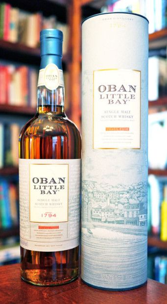 Oban-Little-Bay Single Malt Scotch Whisky is crafted by taking mature Oban Single Malt Scotch Whisky and resting the whisky in small casks for some time.  This extra maturation exposes the whisky to new and fresh oak, resulting in a deeper smoothness and richer flavour.  This single malt has a deep aroma of sea salt, rich oak tannins, espresso beans and citrus. Review from Caskers.com and Photo: maltimpostor.com/2015/obanlittlebay