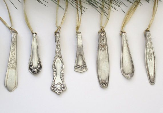 Antique silver spoon handle Christmas Ornaments - Gift set of 10. Decorate your tree in Style
