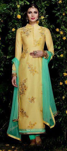 436937: Gold color family stitched Party Wear Salwar Kameez .