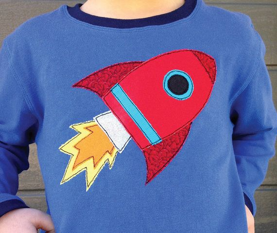 Rocket Racer free-motion appliqué PDF pattern and FMA tutorial - add to t-shirts, bags, cushions and quilts with a fun space theme