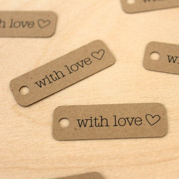 with love tags - handmade packaging tags - kraft tags