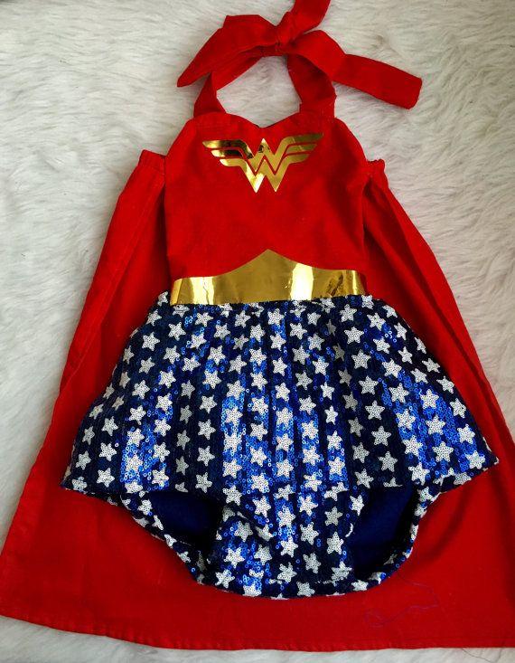 Stella's Halloween Costume | Wonder Woman inspired romper for by EverAfterFairytales