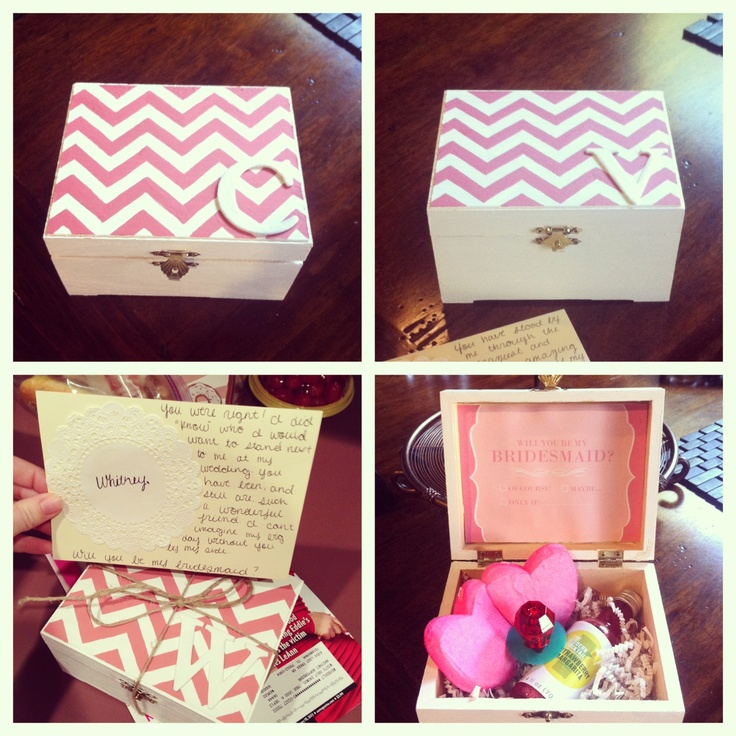 will you be my bridesmaid boxes filled with a ring pop margarita mix and heart shaped. Black Bedroom Furniture Sets. Home Design Ideas