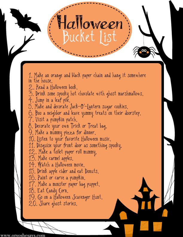 Halloween Bucket List - Great Ideas for the Month of October! (she: Sierra)