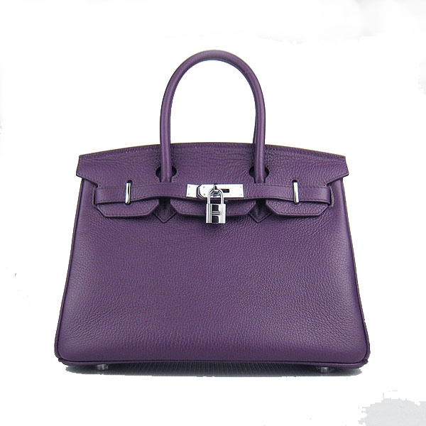 Purple Hermes 30CM Birkin Bag Clemence Leather With Silver HW Product Model: Hermes Birkin 30CM  Availability: In Stock  Color: Purple / Silver  Material: Calf Leather  Size: W30×H22×D16CM  Package: Hermes dust pouch, padlock, keys and key ornaments  Shipping: Free Price: $239