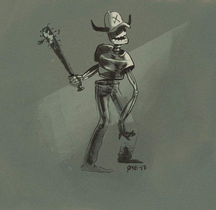 Happy demon dude #character #skeleton #baseballbat #demon #sketch
