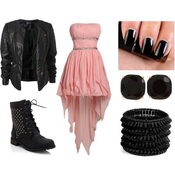 """Punk Prom"" by amncarr on Polyvore. I usually would not wear pink but this is pretty cute"