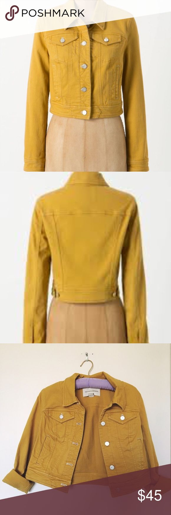 Anthropologie Pilcro Cropped Mustard Jean Jacket Gently worn.  Looks new.  99% cotton 1% spandex.  Size Small. Anthropologie Jackets & Coats Jean Jackets