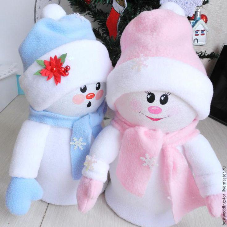 Делаем забавные игрушки «Снежка и Снежок» из флиса и пластиковых бутылок - Ярмарка Мастеров - ручная работа, handmade