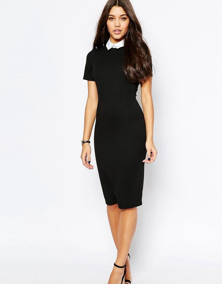 Image 4 of ASOS PETITE Bodycon Dress With Collar
