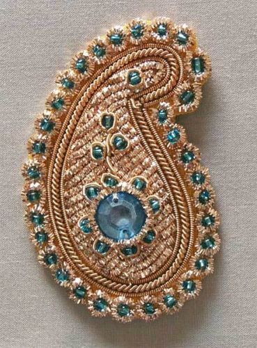 6-Hand-Beaded-Paisley-Appliques-Blue-Gems-Gold-Bullion-Embroidery