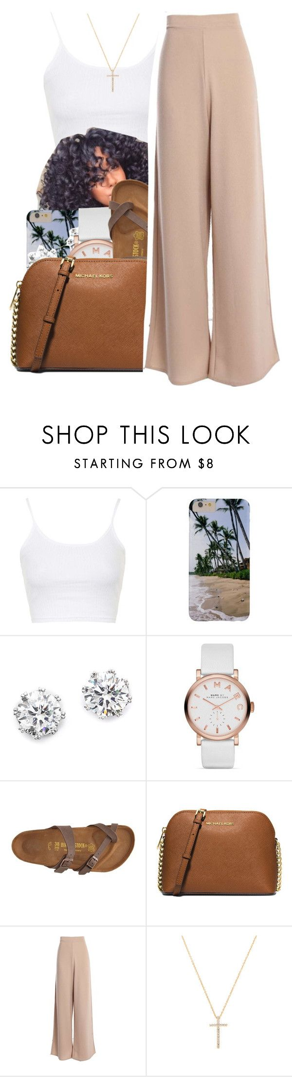 """7/17/16"" by lookatimani ❤ liked on Polyvore featuring Topshop, Kenneth Jay Lane, Marc Jacobs, Birkenstock, MICHAEL Michael Kors and Nephora"