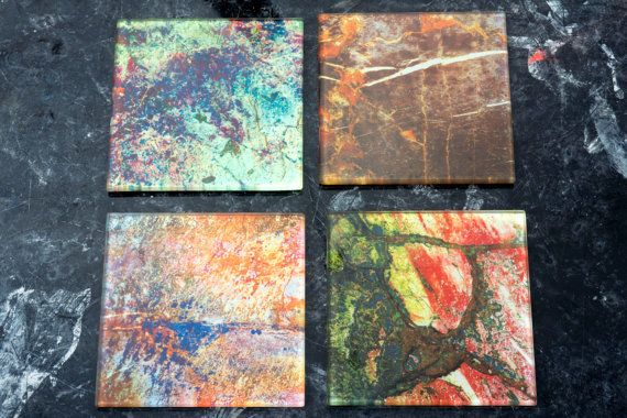 Glass Coasters Set of 4 Variety Pack Stones. by Zero12Photography